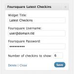 Foursquare Latest Checkins Widget Settings